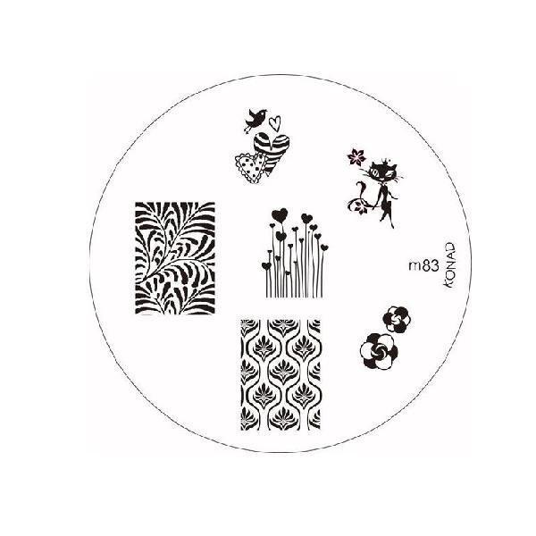 Konad, диск для стемпинга М83Диски для стемпинга Konad<br>6 видов изображений, с помощью которых вы сможете создать великолепные рисунки на ногтях, которые очень сложно создать вручную.<br>