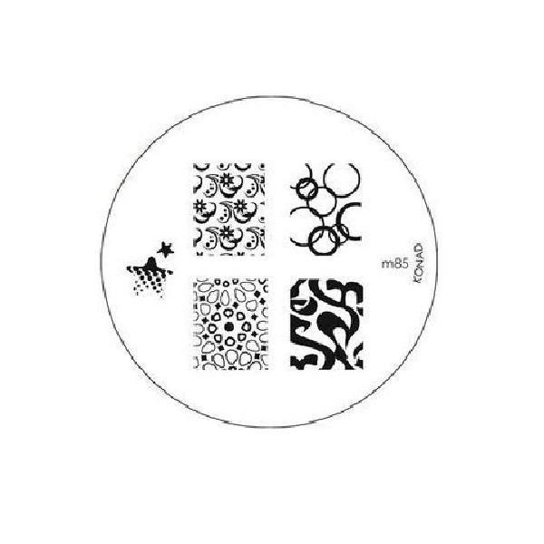 Konad, диск для стемпинга М85Диски для стемпинга Konad<br>5 видов изображений, с помощью которых вы сможете создать великолепные рисунки на ногтях, которые очень сложно создать вручную.<br>