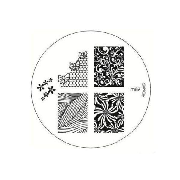 Konad, диск для стемпинга М89Диски для стемпинга Konad<br>6 видов изображений, с помощью которых вы сможете создать великолепные рисунки на ногтях, которые очень сложно создать вручную.<br>