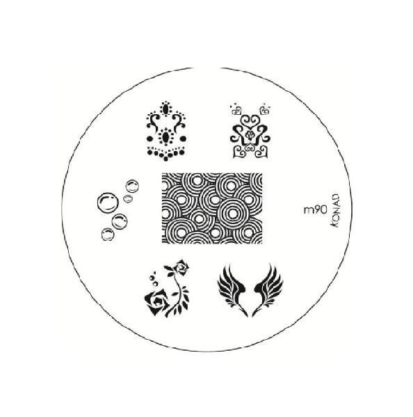 Konad, диск для стемпинга М90Диски для стемпинга Konad<br>6 видов изображений, с помощью которых вы сможете создать великолепные рисунки на ногтях, которые очень сложно создать вручную.<br>