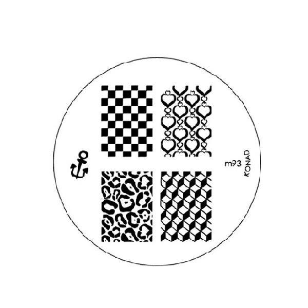 Konad, диск для стемпинга М93Диски для стемпинга Konad<br>5 видов изображений, с помощью которых вы сможете создать великолепные рисунки на ногтях, которые очень сложно создать вручную.<br>