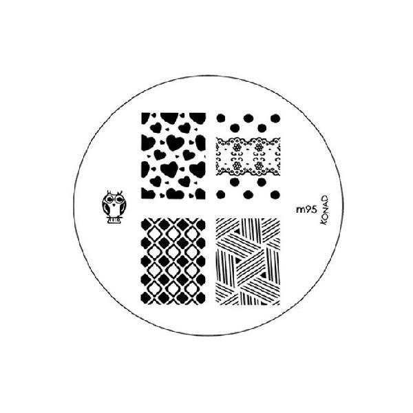 Konad, диск для стемпинга М95Диски для стемпинга Konad<br>5 видов изображений, с помощью которых вы сможете создать великолепные рисунки на ногтях, которые очень сложно создать вручную.<br>