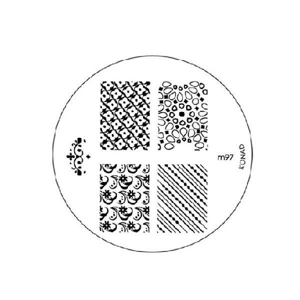 Konad, диск для стемпинга М97Диски для стемпинга Konad<br>5 видов изображений, с помощью которых вы сможете создать великолепные рисунки на ногтях, которые очень сложно создать вручную.<br>