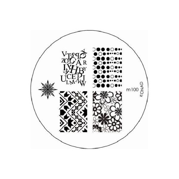 Konad, диск для стемпинга М100Диски для стемпинга Konad<br>5 видов изображений, с помощью которых вы сможете создать великолепные рисунки на ногтях, которые очень сложно создать вручную.<br>