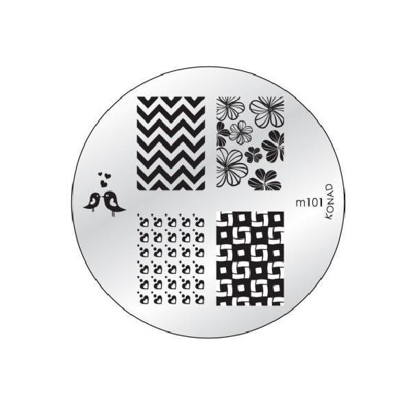 Konad, диск для стемпинга М101Диски для стемпинга Konad<br>5 видов изображений, с помощью которых вы сможете создать великолепные рисунки на ногтях, которые очень сложно создать вручную.<br>