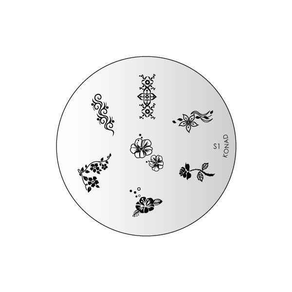 Konad, диск для стемпинга S1Диски для стемпинга Konad<br>7 видов изображений, с помощью которых вы сможете создать великолепные рисунки на ногтях, которые очень сложно создать вручную.<br>