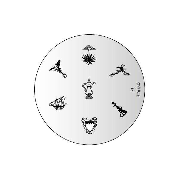 Konad, диск для стемпинга S2Диски для стемпинга Konad<br>7 видов изображений, с помощью которых вы сможете создать великолепные рисунки на ногтях, которые очень сложно создать вручную.<br>