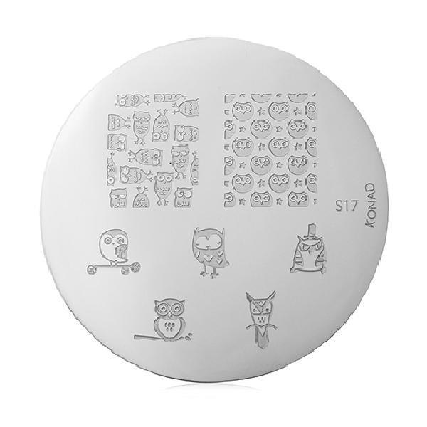 Konad, диск для стемпинга S17Диски для стемпинга Konad<br>7 видов изображений, с помощью которых вы сможете создать великолепные рисунки на ногтях, которые очень сложно создать вручную.<br>