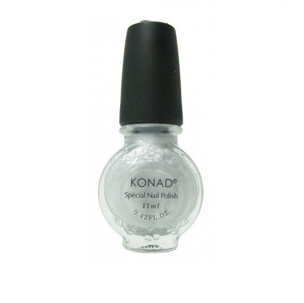 Konad, лак для стемпинга, цвет S03 Silver 11 ml (серебряный)Лаки для стемпинга Konad<br>Специальный лак для нанесения рисунка с помощью стемпинга.<br>