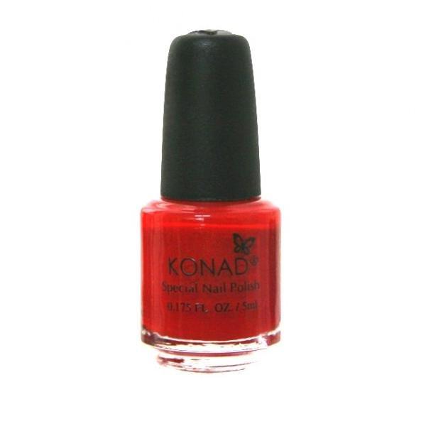 Konad, лак для стемпинга, цвет S15 Red 5 ml (красный)Лаки для стемпинга Konad<br>Специальный лак для нанесения рисунка с помощью стемпинга.<br>
