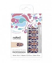 ruNail, Фотодизайн (Британский флаг) № 1853Фотодизайн для ногтей RuNail<br>Фотодизайн (Британский флаг)<br>