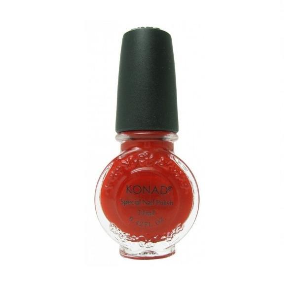 Konad, лак для стемпинга, цвет S15 Red 11 ml (красный)Лаки для стемпинга Konad<br>Специальный лак для нанесения рисунка с помощью стемпинга.<br>