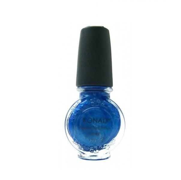 Konad, лак для стемпинга, цвет S27 Blue Pearl 11 ml (синий перламутровый)Лаки для стемпинга Konad<br>Специальный лак для нанесения рисунка с помощью стемпинга.<br>