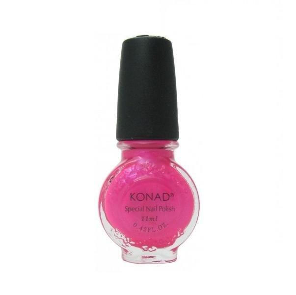 Konad, лак для стемпинга, цвет S30 Psycho Pink 11 ml (ярко-розовый с перламутром)Лаки для стемпинга Konad<br>Специальный лак для нанесения рисунка с помощью стемпинга.<br>