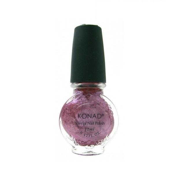 Konad, лак для стемпинга, цвет S41 Vivid Pink 11 ml (розово-фиолетовый с перламутром)Лаки для стемпинга Konad<br>Специальный лак для нанесения рисунка с помощью стемпинга.<br>