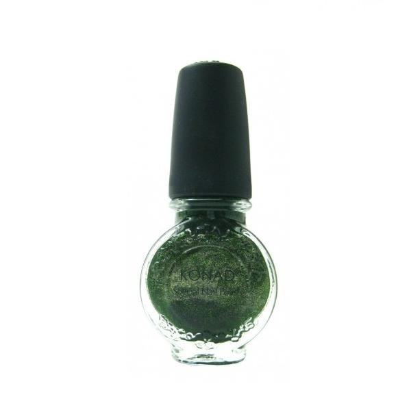 Konad, лак для стемпинга, цвет S43 Moss Green 11 ml (зеленый темный перламутровый)Лаки для стемпинга Konad<br>Специальный лак для нанесения рисунка с помощью стемпинга.<br>