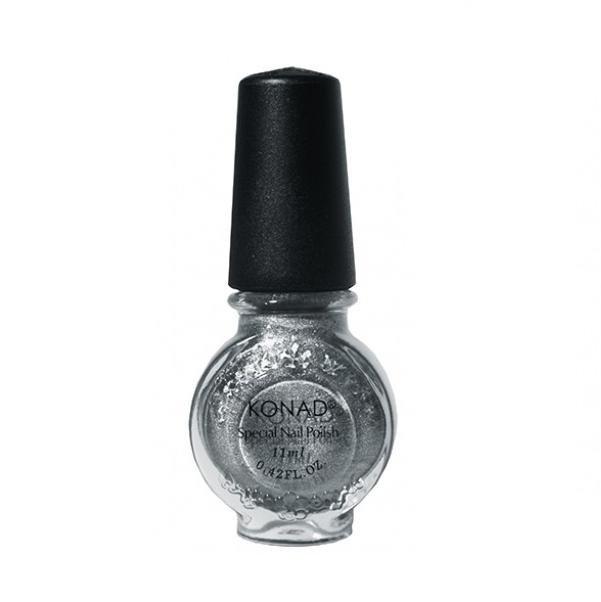 Konad, лак для стемпинга, цвет S53 Powdery Silver 11 ml (воздушное серебро)Лаки для стемпинга Konad<br>Специальный лак для нанесения рисунка с помощью стемпинга.<br>