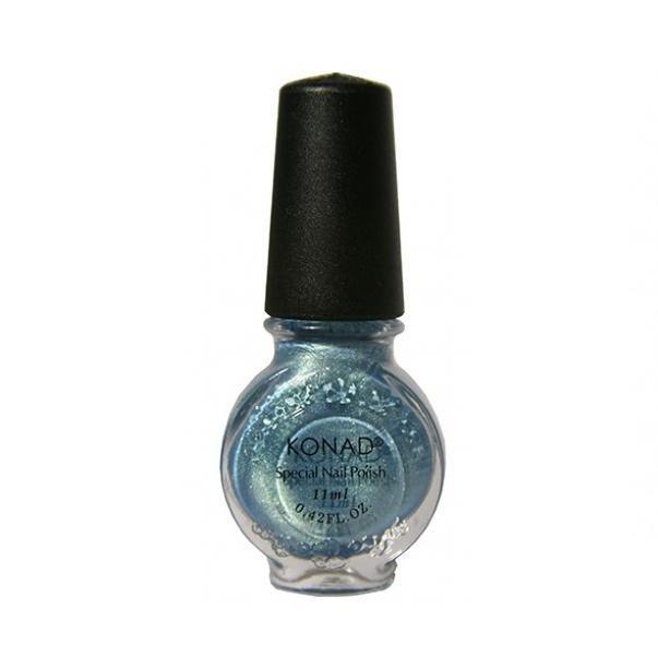 Konad, лак для стемпинга, цвет S57 Secret Blue 11 ml (стальной голубой, перламутр)Лаки для стемпинга Konad<br>Специальный лак для нанесения рисунка с помощью стемпинга.<br>