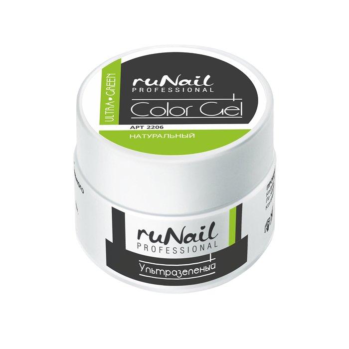 ruNail, УФ-гель цветной (Ультразеленый, Ultra Green), 7,5 гУФ гели RuNail<br>Цветной непрозрачный УФ?гель густой вязкости.<br>
