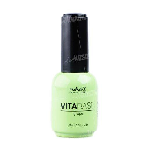 ruNail, Основа для гель-лака с маслом виноградных косточек VitaBase Grape, 15 млruNail<br>Основа для гель-лака с маслом виноградных косточек укрепляет и питает ногтевую пластину, обогащает ее витаминами.<br>
