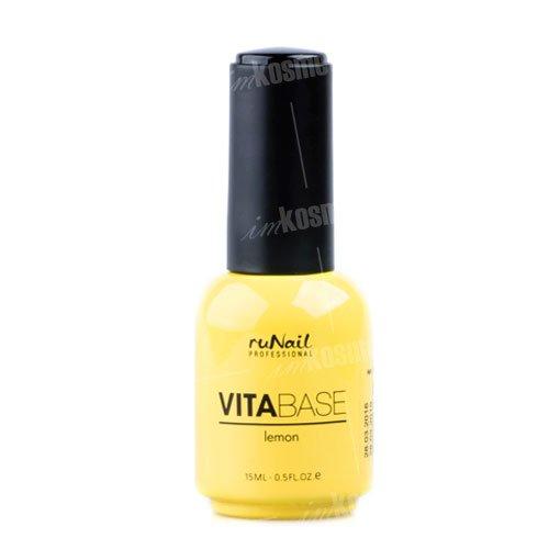 ruNail, Основа для гель-лака с лимоном VitaBase Lemon, 15 млruNail<br>Основа для гель-лака с концентратом лимона укрепляет и оздоравливает ногтевую пластину.<br>