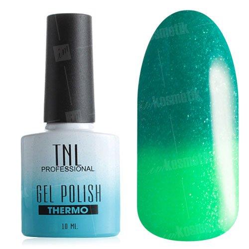 TNL, Гель-лак - Thermo Effect №11Термо<br>Термо гель-лак малахитовыйлайм, с зелеными блестками, плотный<br>