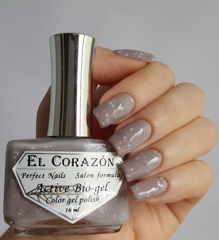 El Corazon Active Bio-gel Color gel polish  Fashion girl on a fitness №423/214Лечебный биогель El Corazon<br>Био-гель светло-серый с белыми блестками, плотный. Объем 16 ml.<br>