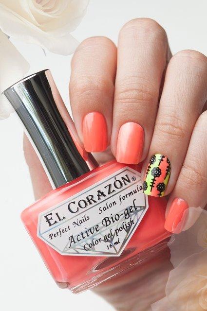 El Corazon Active Bio-gel Color gel polish Jelly neon №423-254Лечебный биогель El Corazon<br>Био-гель грейпфрутовый, неоновый, плотный. Объем 16 ml.<br>