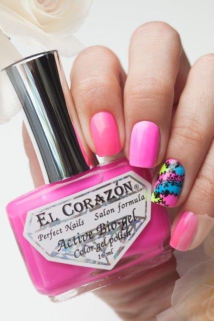 El Corazon Active Bio-gel Color gel polish Jelly neon №423/256Лечебный биогель El Corazon<br>Био-гель темно-розовый, неоновый, плотный. Объем 16 ml.<br>