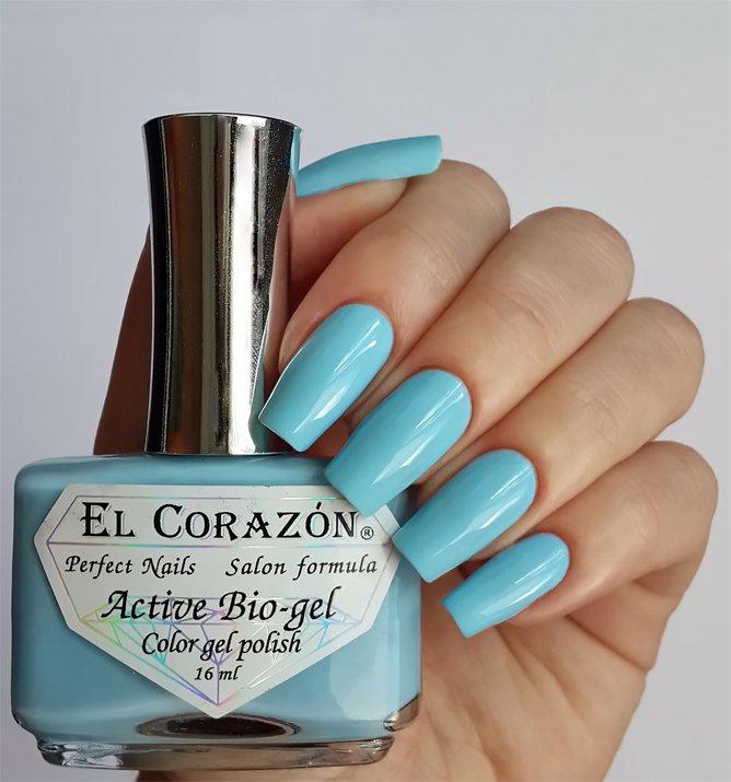 El Corazon Active Bio-gel Color gel polish Cream №423-278Лечебный биогель El Corazon<br>Био-гель кремовый голубой, без блесток и перламутра, плотный. Объем 16 ml.<br>
