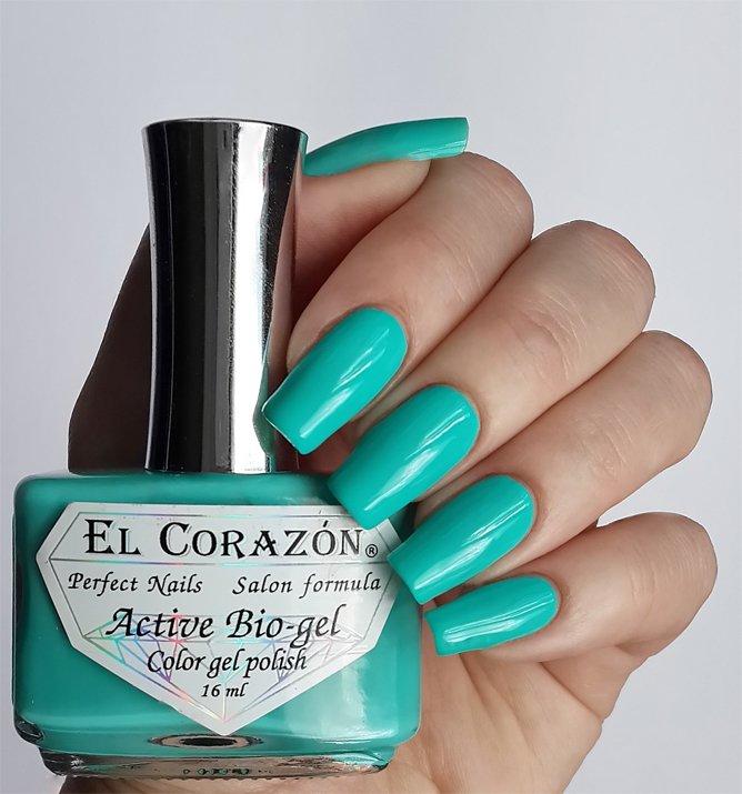 El Corazon Active Bio-gel Color gel polish Cream №423/279Лечебный биогель El Corazon<br>Био-гель кремовый бирюзовый, без блесток и перламутра, плотный. Объем 16 ml.<br>