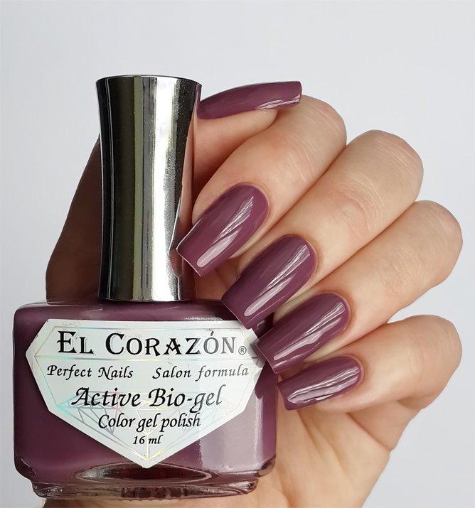 El Corazon Active Bio-gel Color gel polish Cream №423-281Лечебный биогель El Corazon<br>Био-гель кремовый лилово-серый, без блесток и перламутра, плотный. Объем 16 ml.<br>