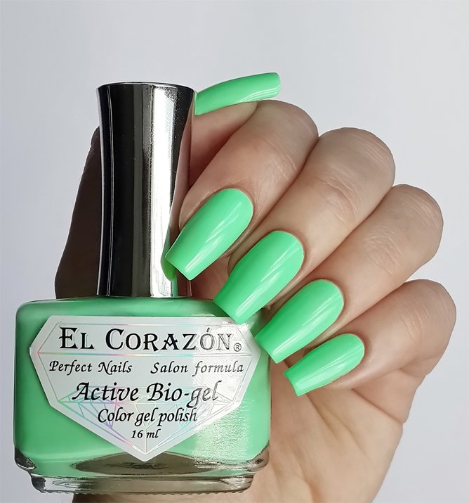 El Corazon Active Bio-gel Color gel polish Cream №423/282Лечебный биогель El Corazon<br>Био-гель кремовый мятный, без блесток и перламутра, плотный. Объем 16 ml.<br>