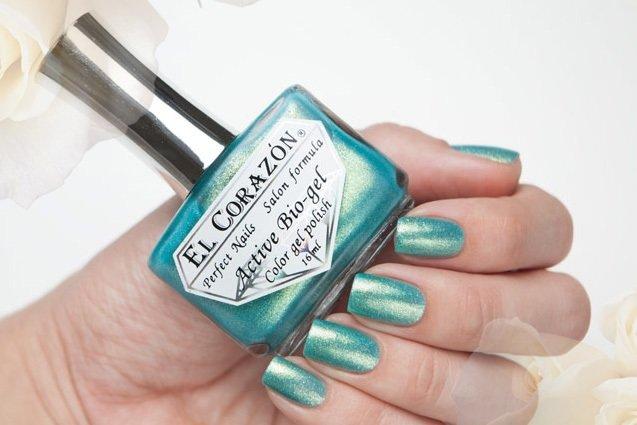 El Corazon Active Bio-gel Magic sparkling sea № 423/573Лечебный биогель El Corazon<br>Био-гель зелено-синий, с золотистыми блестами, плотный. Объем 16 ml.<br>