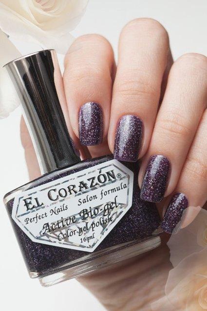 El Corazon Active Bio-gel L.H. Galaxy № 423/505Лечебный биогель El Corazon<br>Био-гельтемно фиолетовый оттенк, с голографическими блестками, плотный. Объем 16 м.<br>