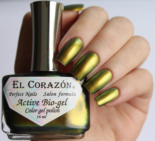 El Corazon Active Bio-gel Polishaholic № 423-722Лечебный биогель El Corazon<br>Био-гель меняет оттенок с оливкового на бронзовый,хамелеон, плотный. Объем 16 м.<br>
