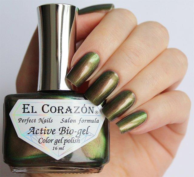 El Corazon Active Bio-gel Polishaholic Mania № 423-725Лечебный биогель El Corazon<br>Био-гельменяет оттенок с зеленого на бронзовый,хамелеон, плотный. Объем 16 м.<br>