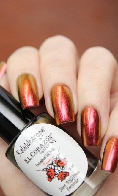El Corazon, Kaleidoscope № Lm-06 ЛакомирЛаки Kaleidoscope<br>Лак для ногтей хамелеон переливается открасно-малинового к оранжевому цвету, плотный. Объем 8 мл.<br>