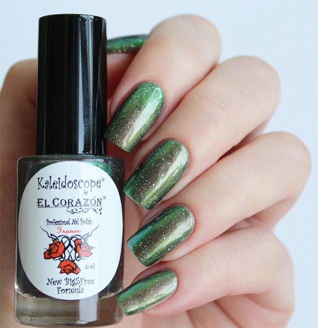 El Corazon, Kaleidoscope № Mw-01 ПерсейЛаки Kaleidoscope<br>Лак для ногтей хамелеон переливается от зеленогок коричневомуцвету, плотный. Объем 8 мл.<br>