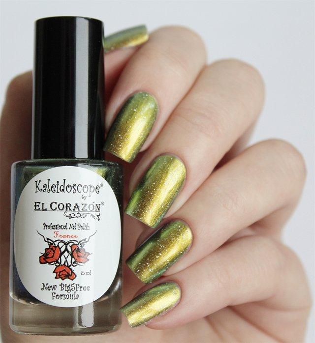 El Corazon, Kaleidoscope № Mw-07 ЛебедьЛаки Kaleidoscope<br>Лак для ногтей хамелеон переливается от золотистого к оливковому цвету, плотный. Объем 8 мл.<br>