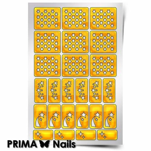 PrimaNails, Трафарет для дизайна ногтей - КосмосPrimaNails<br>Самоклеющиеся трафареты<br>
