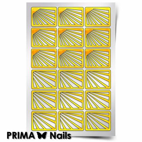 PrimaNails, Трафарет для дизайна ногтей - Лучи солнцаPrimaNails<br>Самоклеющиеся трафареты<br>