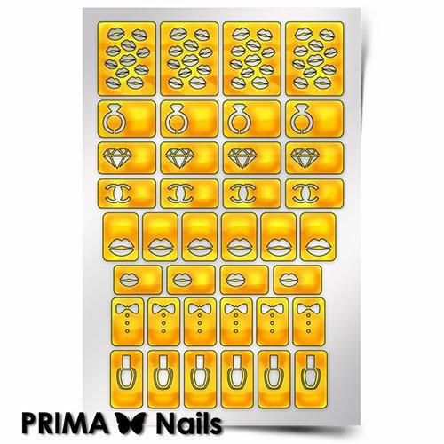 PrimaNails, Трафарет для дизайна ногтей - МодницаPrimaNails<br>Самоклеющиеся трафареты<br>
