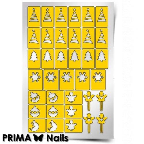 PrimaNails, Трафарет для дизайна ногтей - Новый годPrimaNails<br>Самоклеющиеся трафареты<br>