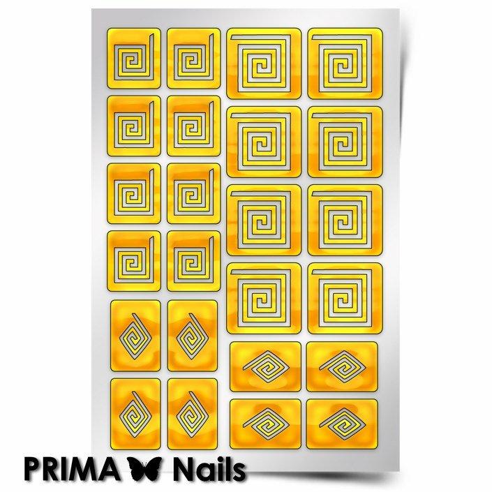 PrimaNails, Трафарет для дизайна ногтей - Спирали КвадратPrimaNails<br>Самоклеющиеся трафареты<br>