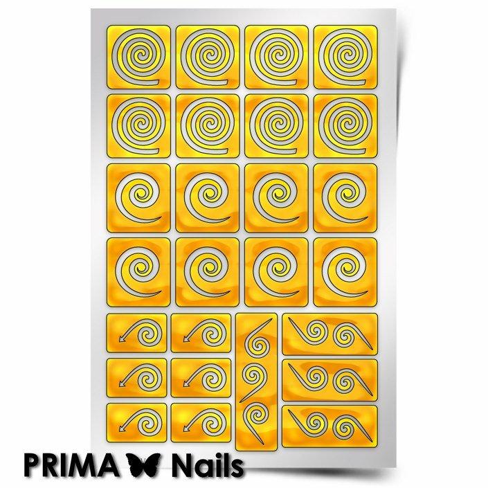 PrimaNails, Трафарет для дизайна ногтей - Спирали КругPrimaNails<br>Самоклеющиеся трафареты<br>