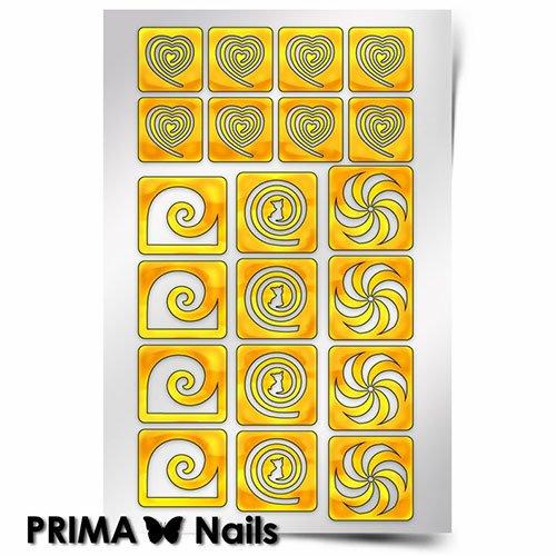 PrimaNails, Трафарет для дизайна ногтей - Спирали ФантазияPrimaNails<br>Самоклеющиеся трафареты<br>