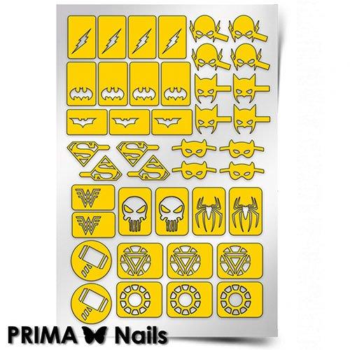 PrimaNails, Трафарет для дизайна ногтей - СупергероиPrimaNails<br>Самоклеющиеся трафареты<br>