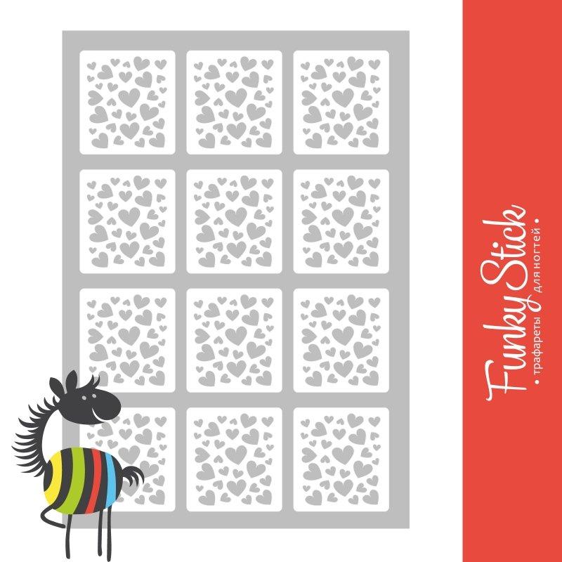 Funky Stick, Трафарет для дизайна ногтей Love №6Funky Stick<br>Самоклеющиеся трафареты<br>