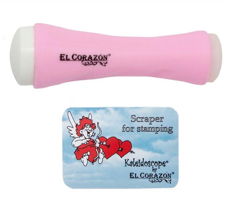 El Corazon, Двусторонний штамп XL и скрапер (розовый)Инструменты и Аксессуары El Corazon<br>Двусторонний штамп XL + скрапер<br>